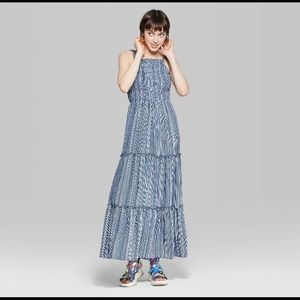 Wild Fable blue striped tiered maxi dress M